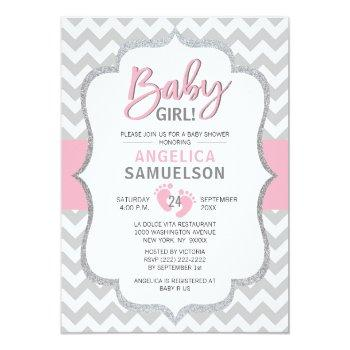 Cute Chevron Pink Grey Feet Baby Shower Girl Invitation