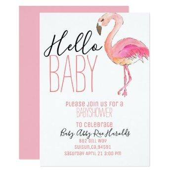 Cute Chic Flamingo Girl Baby Shower Invite