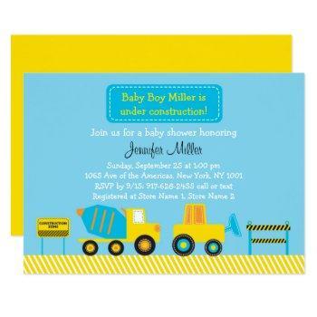 Cute Construction Truck Baby Shower Invitation