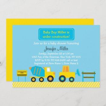 Cute Construction Truck Baby Shower Invitation