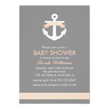 Cute Coral Anchor Nautical Theme Baby Shower Invitation
