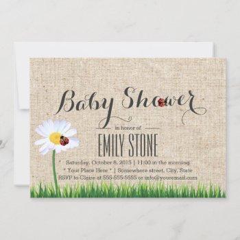 Cute Daisy & Ladybugs Burlap Baby Shower Invitation