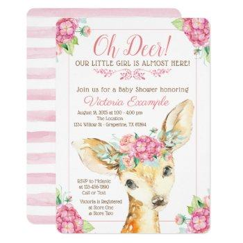 Cute Deer Baby Girl Shower Invitations