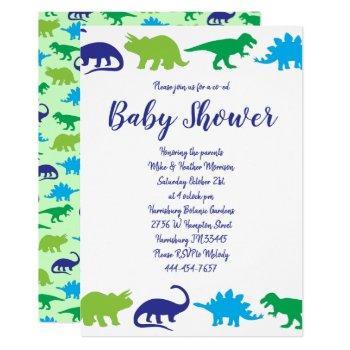 Cute Dinosaur Baby Shower Dino Blue And Green Boy Invitation