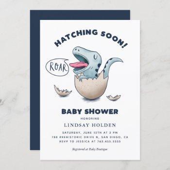 Cute Dinosaur Boy Baby Shower Hatching Soon Invitation