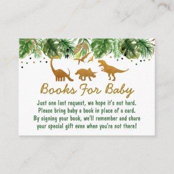 Cute Dinosaur Safari Baby Shower Book Request Enclosure Card