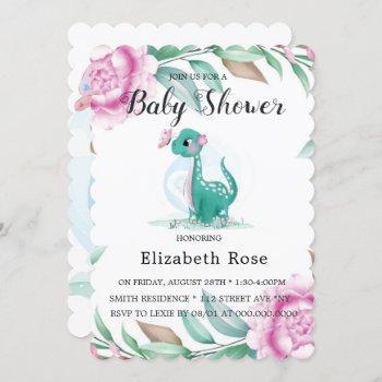 Cute Dinosaur With Pink Peony Baby Girl Shower Invitation