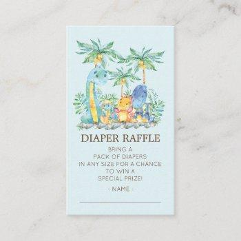 Cute Dinosaurs Baby Shower Diaper Raffle Ticket Enclosure Card