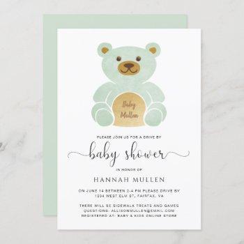 Cute Drive By Baby Shower Teddy Bear Mint