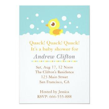 Cute Ducky With Bubbles Baby Shower Party Invitation