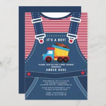 Cute Dump Truck Baby Shower Invitation