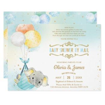 Cute Elephant Boy Virtual Baby Shower By Mail Invitation