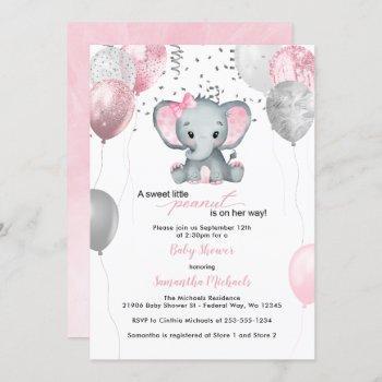 Cute Elephant Girl Balloons Baby Shower