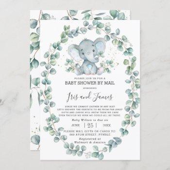 Cute Elephant Greenery Baby Shower By Mail Boy Invitation