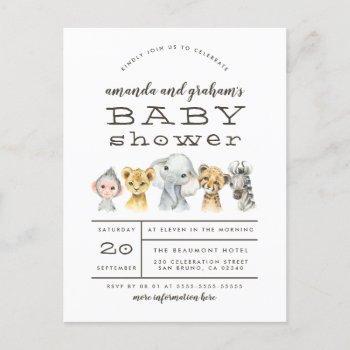 Cute Elephant & Jungle Friends Rustic Baby Shower  Post