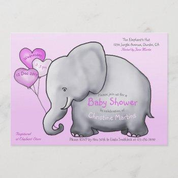 Cute Elephant Pink Girl Baby Shower
