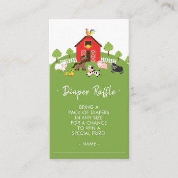 Cute Farm Animals Baby Shower Diaper Raffle Ticket Enclosure Card