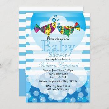Cute Fishy Bubbles Baby Shower Theme Invitation