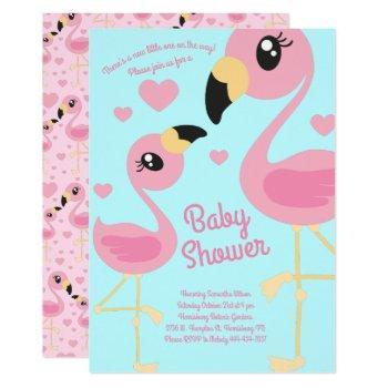 Cute Flamingo Baby Shower Tropical Beach Pink Girl Invitation