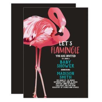 Cute Flamingo Tropical Let's Flamingle Baby Shower Invitation