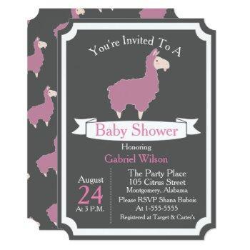 Cute Funny Pink Llama Baby Girl Baby Shower Invitation