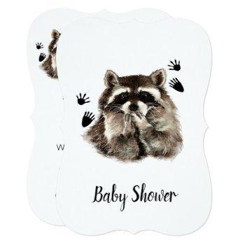 Cute Funny Raccoon Garden Animal Baby Shower Invitation