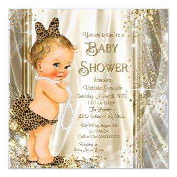 Cute Glam Leopard Girly Baby Girl Shower Invitation