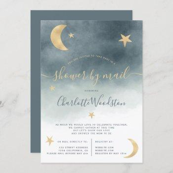 Cute Gold Moon Stars Blue Baby Shower By Mail Invitation