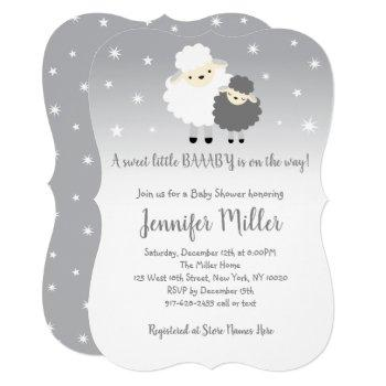 Cute Gray & White Lamb Baby Shower Invitation