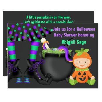 Cute Halloween Neutral Pumpkin Baby Shower Invitation