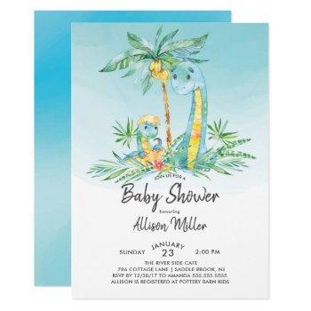 Cute Hatching Dinosaur Baby Boy Shower Invitation