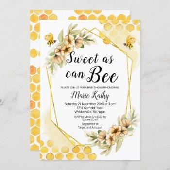 Cute Honey Sweet As Can Bee Baby Shower Invitation