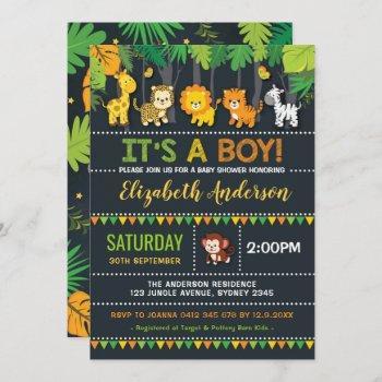 Cute Jungle Boy Baby Shower Safari Animals Party