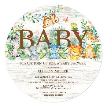 Cute Jungle Safari Baby Shower Invitation