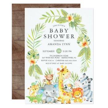 Cute Jungle Safari Boy Baby Shower Invitation