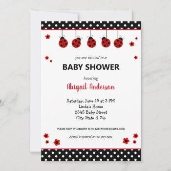 Cute Ladybug Polka Dots Baby Shower Invitation