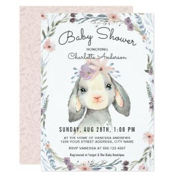 Cute Lamb And Flowers Baby Shower Invitation