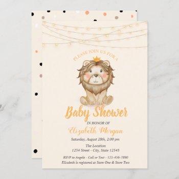 Cute Lion, String Lights,dots Baby Shower Invitation