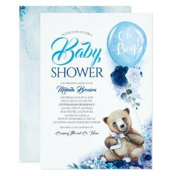 Cute Little Bear Blue Floral Balloon Baby Shower Invitation
