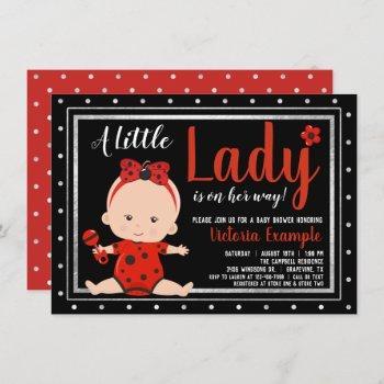 Cute Little Lady Ladybug Baby Shower Invitation