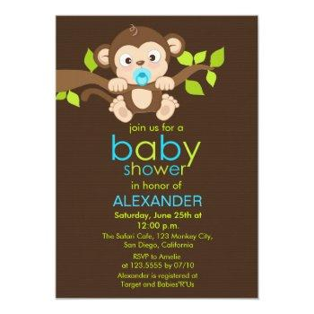 Cute Little Monkey Boy Baby Shower Invitation