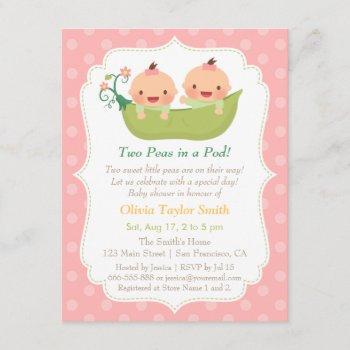 Cute Little Peas In A Pod Twin Girls Baby Shower Invitation
