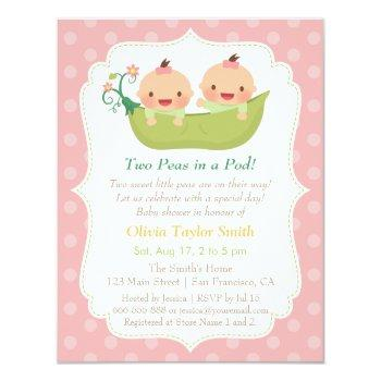 Cute Little Peas In A Pod Twin Girls Baby Shower Invitation