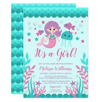 Cute Mermaid Baby Shower Invitations