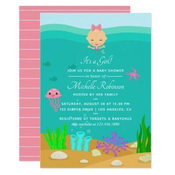 Cute Mermaid Under The Sea Girl Baby Shower Invitation
