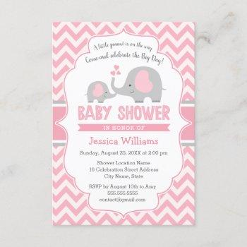 Cute Modern Pink Gray Elephant Girl Baby Shower Invitation