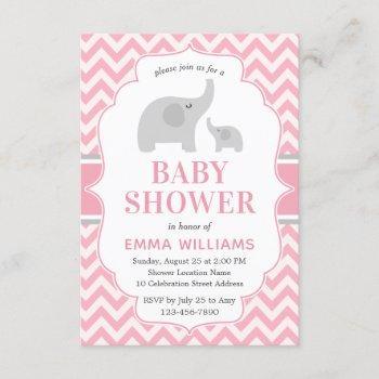 Cute Modern Pink Grey Elephant Girl Baby Shower Invitation