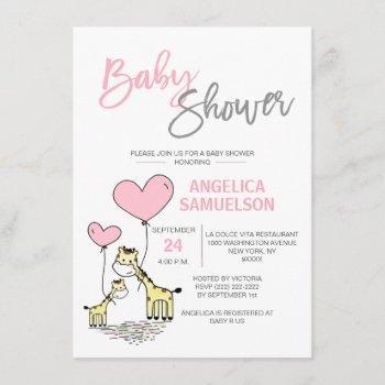 Cute Modern Pink Mommy Giraffe Girls Baby Shower