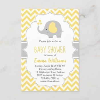 Cute Modern Yellow Gray Elephant Baby Shower Invitation