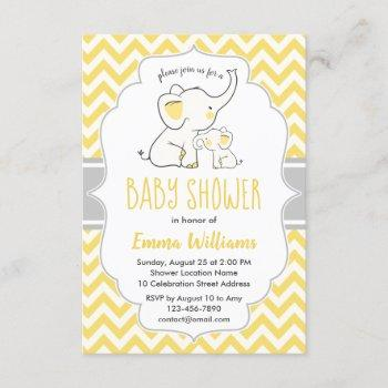 Cute Modern Yellow Grey Elephant Baby Shower Invitation